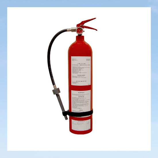 red hyperbaric fire extinguisher
